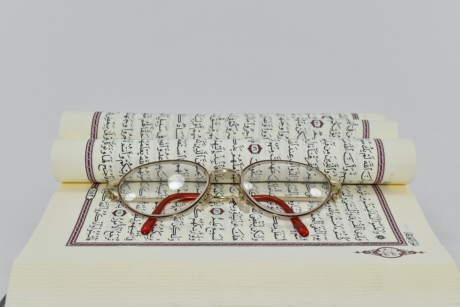 alphabet, arabic, book, eyeglasses, Islam, language, learning, reading, paper, text