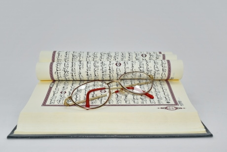 arabic, book, eyeglasses, Islam, language, law, religion, paper, old, document