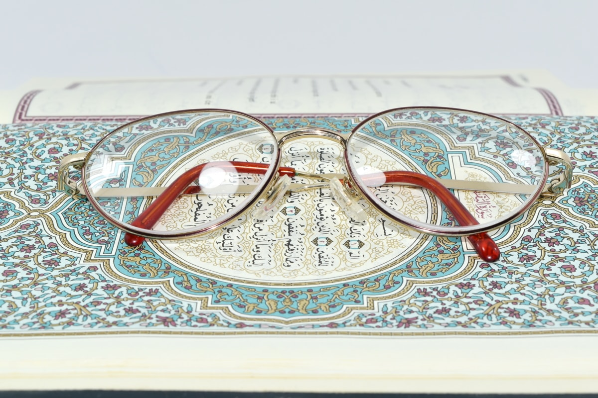 alphabet, arabic, book, design, eyeglasses, language, wisdom, paper, old, vintage