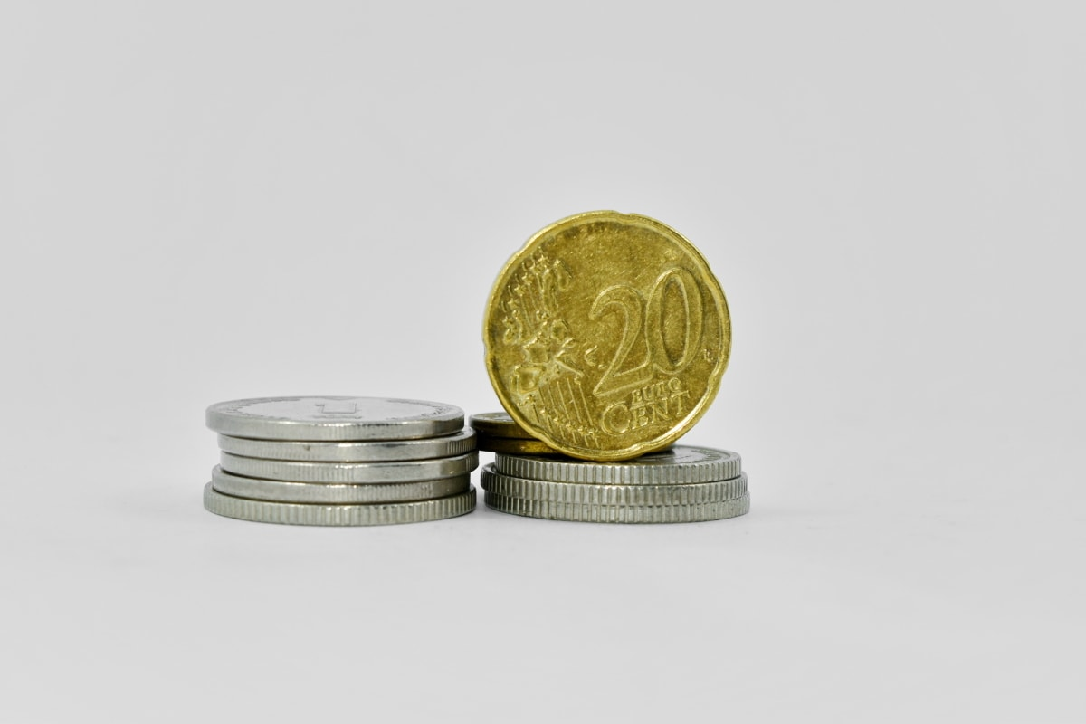 cent, coins, euro, metal, twenty, business, money, coin, finance, currency