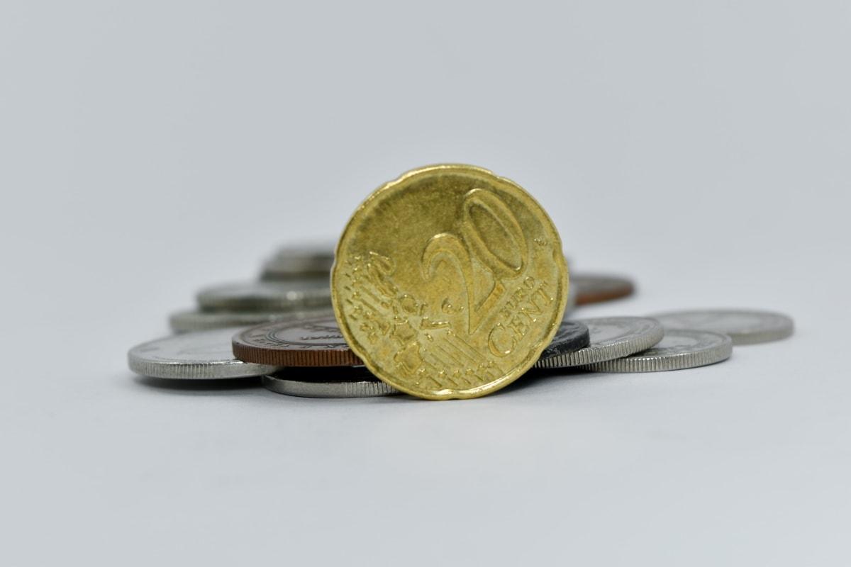 cent, coins, euro, twenty, savings, fastener, currency, money, business, finance