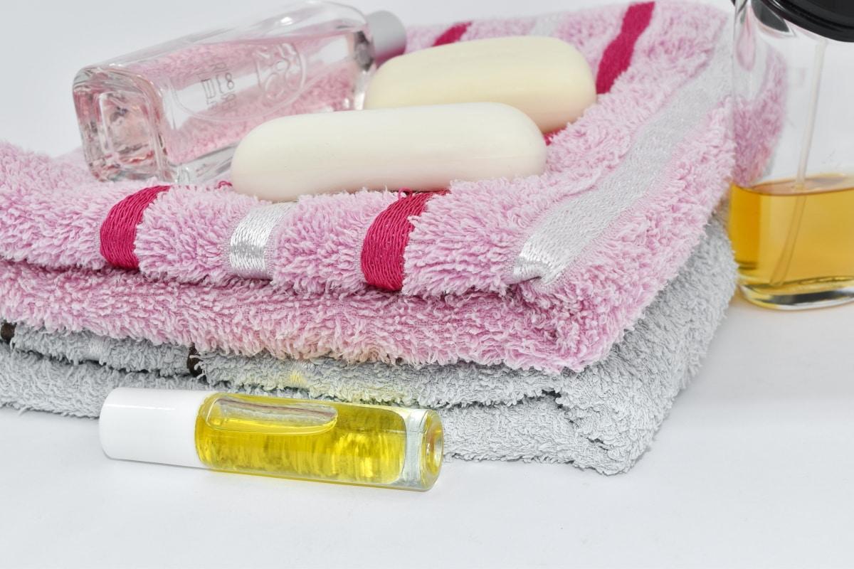 Aromatherapie, Flaschen, Baumwolle, Lotion, Öl, Handtuch, Wellness, Bad, Hygiene, Bad
