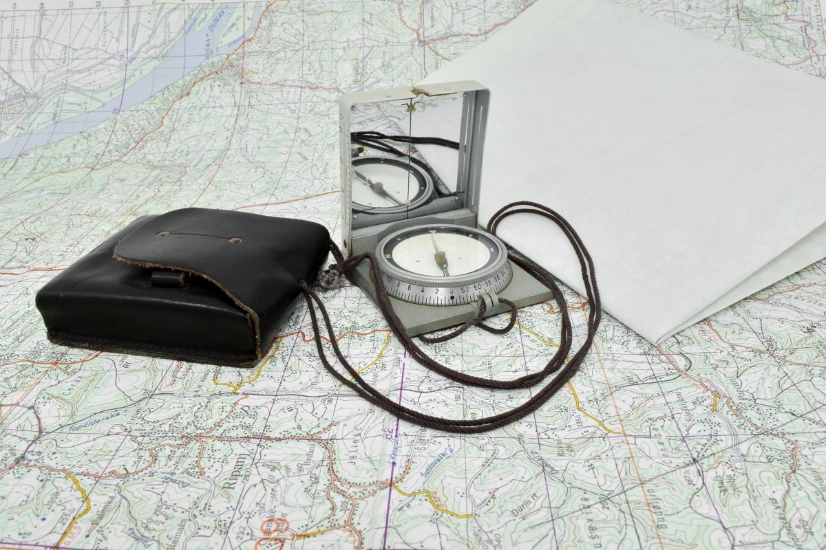 Kompass, navigasjon, planting, tur, enheten, utstyr, papir, instrumentet, gamle, teknologi