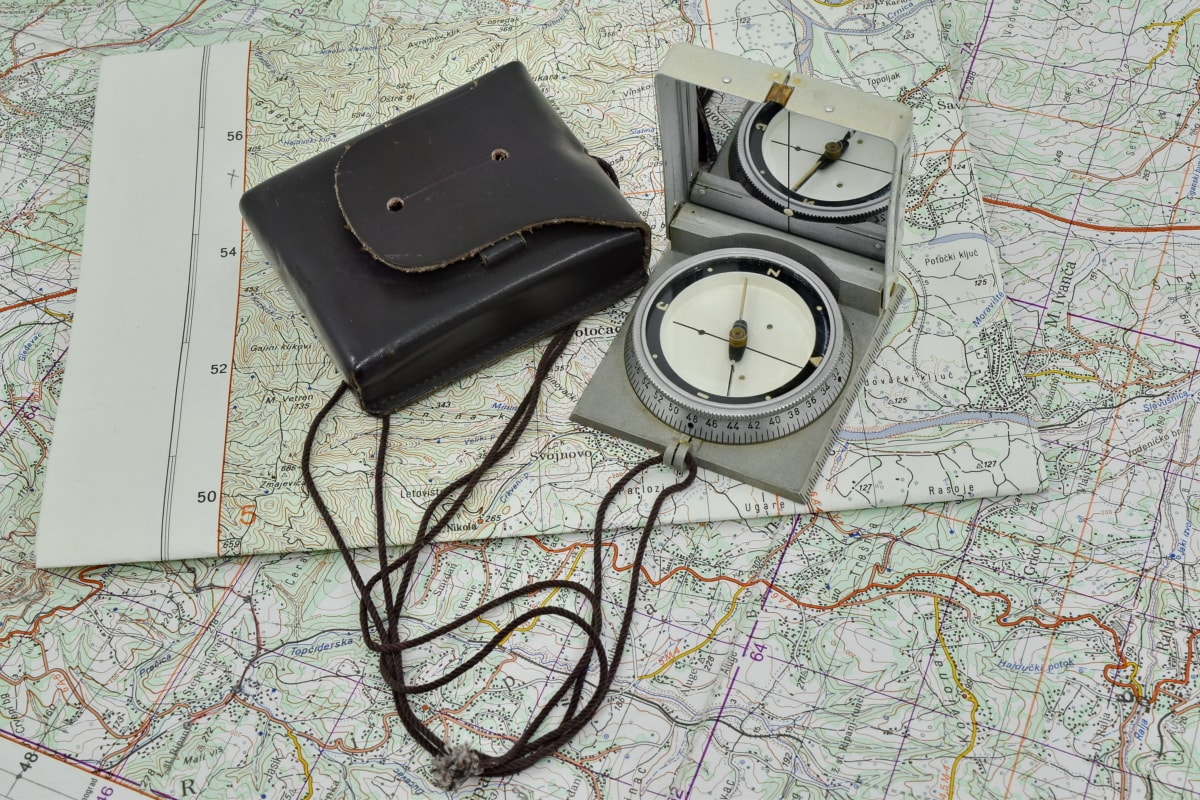 army, compass, location, navigation, orientation, west side, map, paper, retro, old