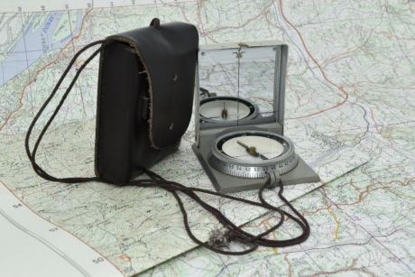 compass, exploration, geography, location, map, navigation, position, equipment, device, retro