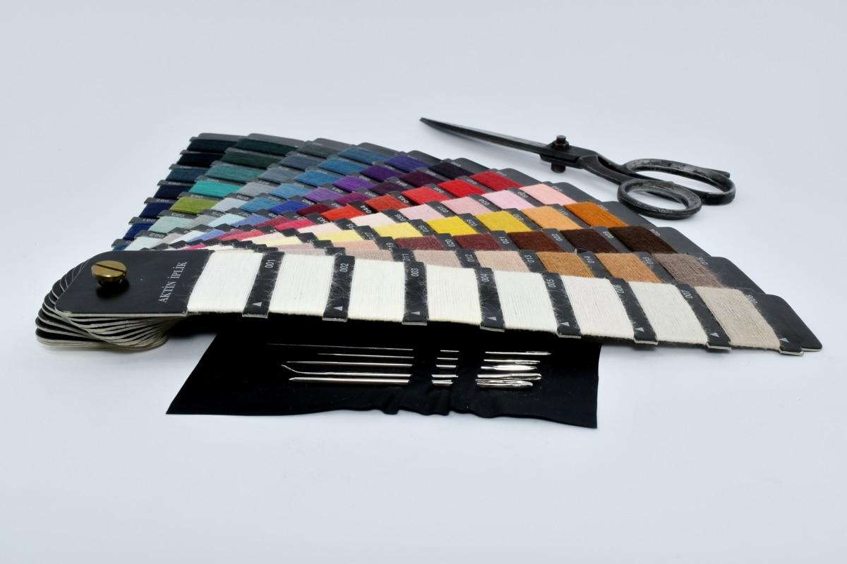 εργαλείο χειρός, βελόνες, παλέτα, Ψαλίδι, ράψιμο, βελόνα για ράψιμο, Νεκρή φύση, Εξοπλισμός, χρώμα, πολύχρωμο