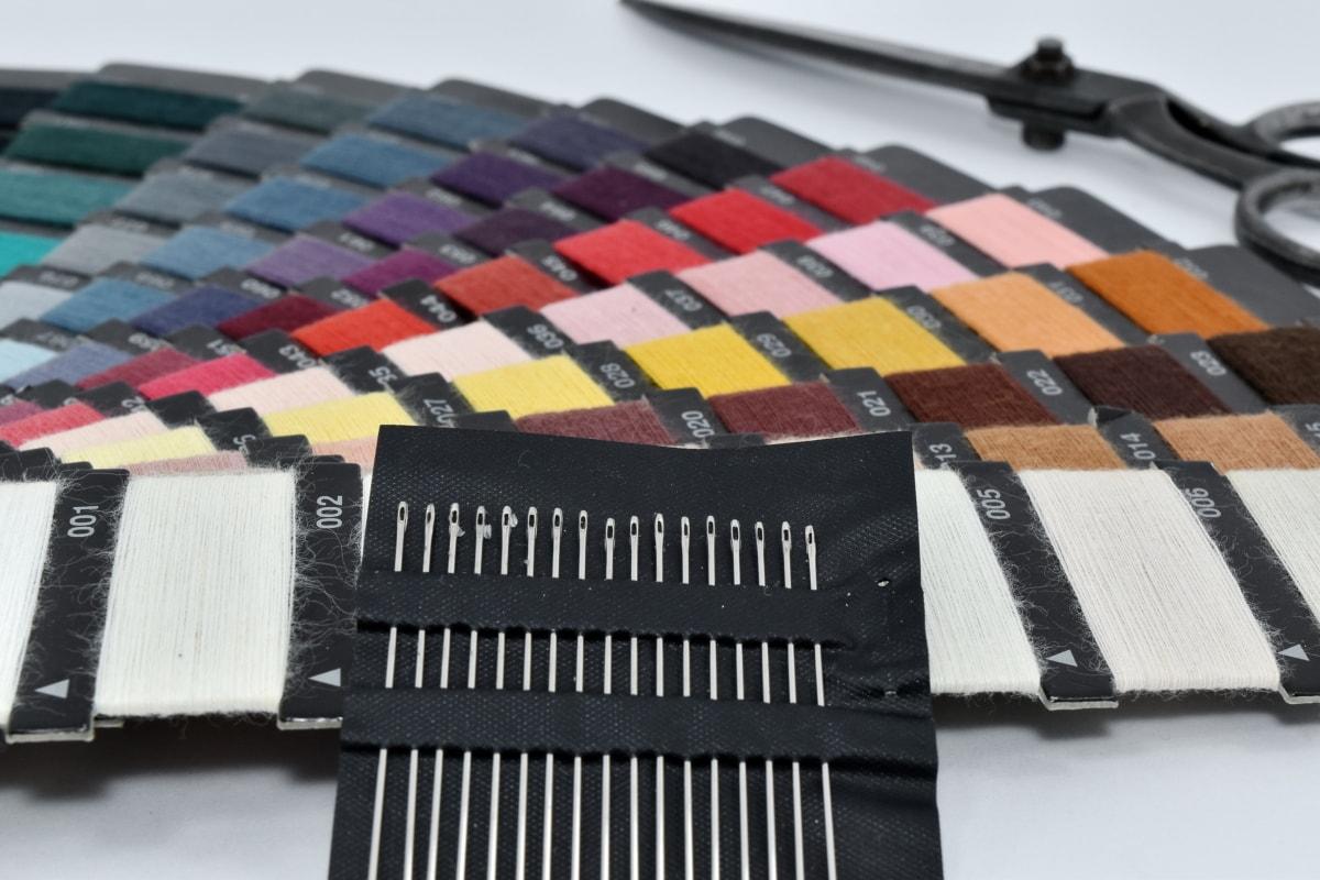 coloré, Craft, outil à main, ciseaux, aiguille à coudre, secteur d'activité, équipement, couleur, couleurs, en détail
