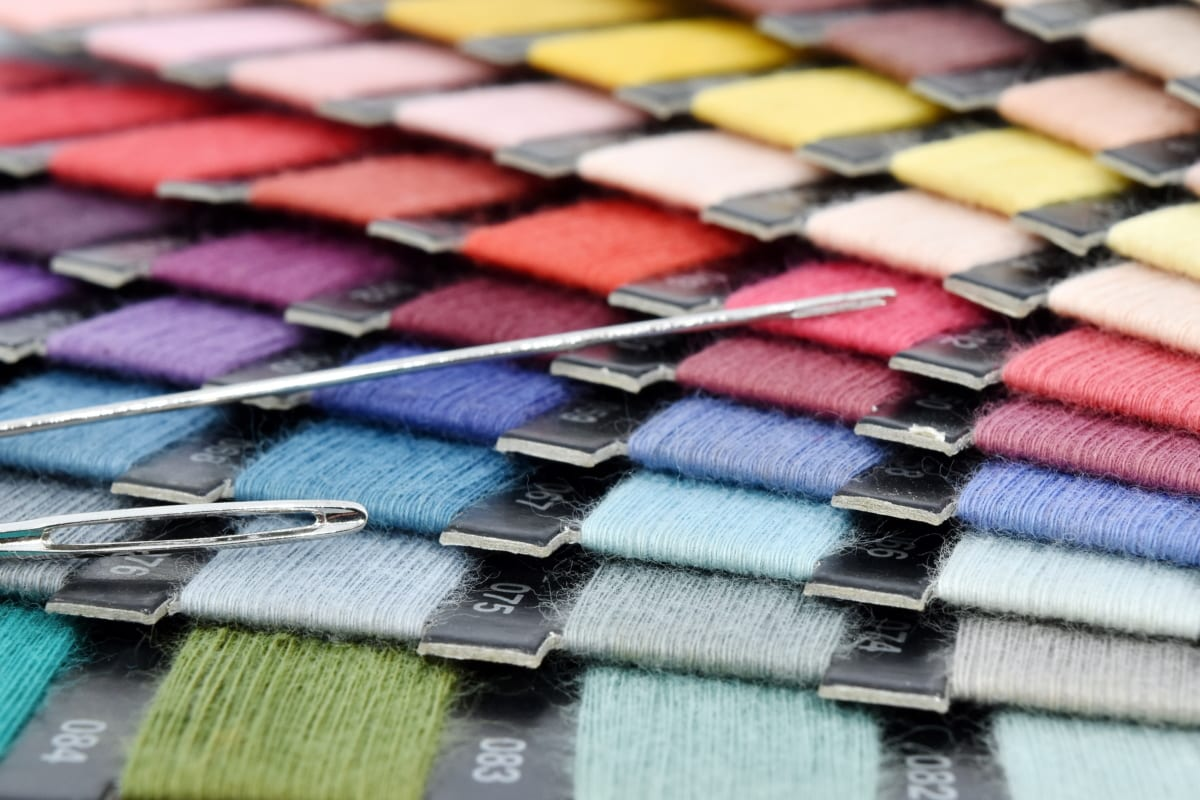 Farbpalette, Nähen, Nähnadel, Textil-, handgefertigte, Handwerk, traditionelle, Baumwolle, Stoff, Muster