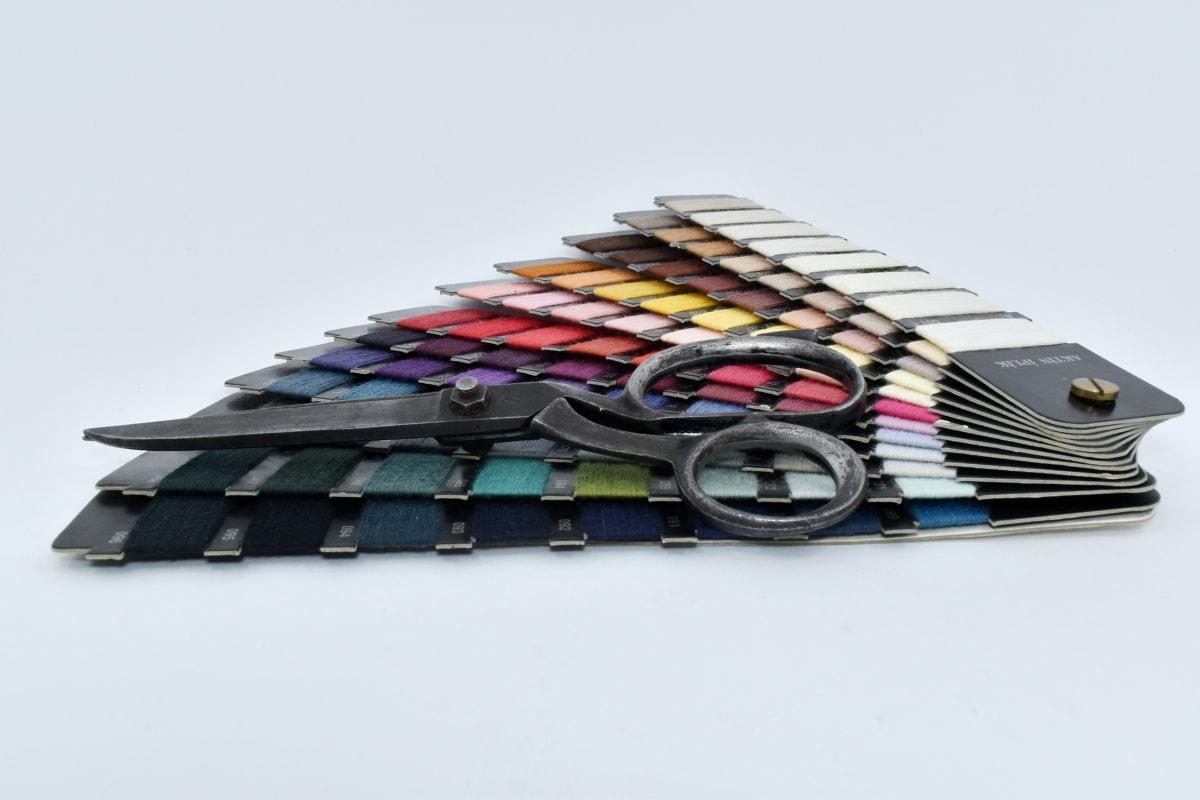 handverktyget, palett, sax, sömnad, gamla, stilla liv, färg, färgglada, färger, hantverk
