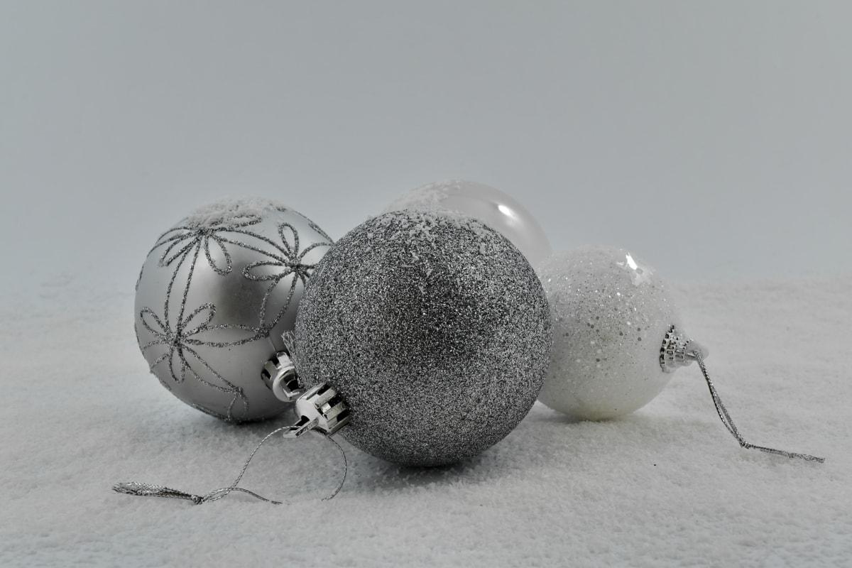 bianco e nero, Natale, ornamento, rotondo, fiocchi di neve, sfera, celebrazione, decorazione, decorativi, gelo
