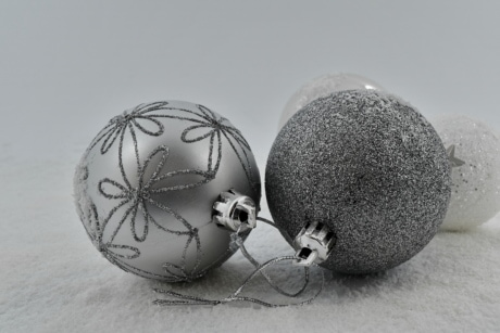 luxury, ornament, snowflakes, still life, snow, sphere, christmas, winter, shining, traditional