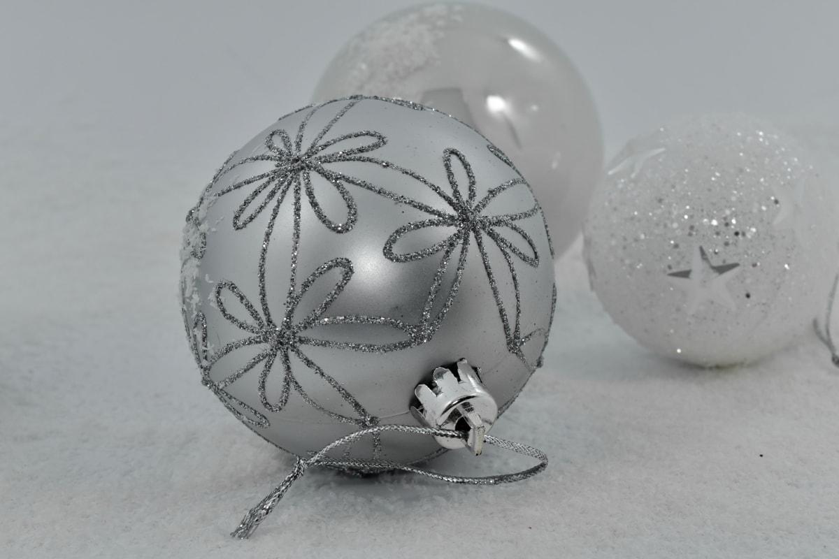 Noël, fermer, décoration, mise au point, période de vacances, flocons de neige, sphère, neige, flocon de neige, nature