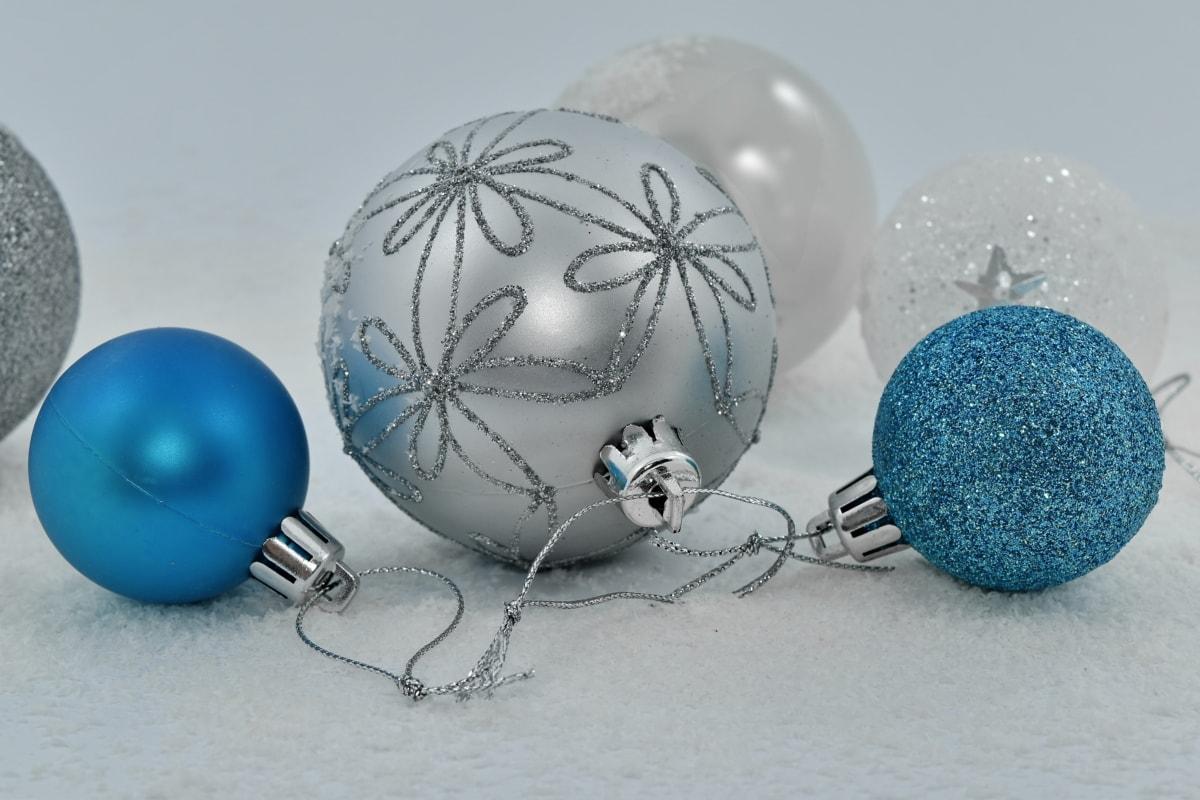 bleu, objet, ornement, flocons de neige, nature morte, blanc, sphère, neige, Noël, Hiver
