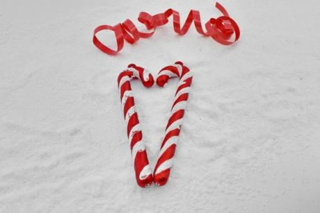 christmas, decoration, heart, ornament, reddish, ribbon, romantic, snow, snowflakes, still life