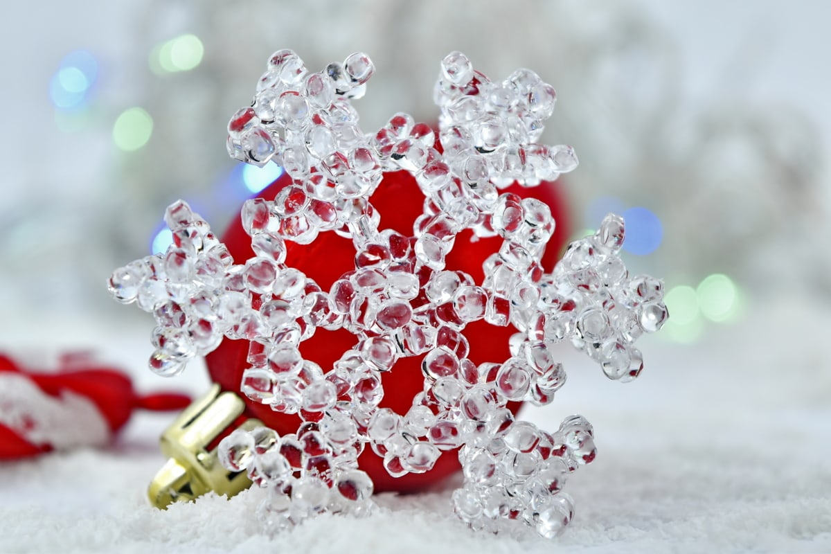 cold, crystal, frost, frozen, ornament, snowflake, transparent, decoration, christmas, winter