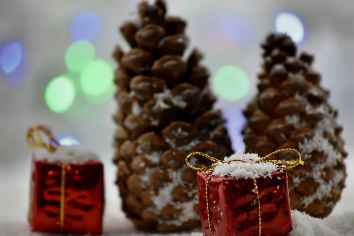 podsvícení, vánoční, dekorativní, dary, dávat, hnědá, zimní, tradiční, rozostření, dekorace