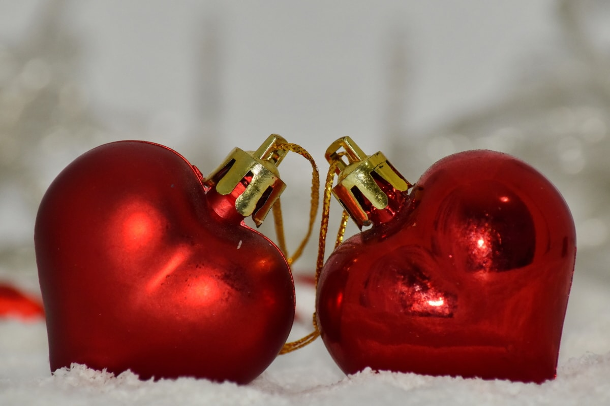 christmas, hearts, holiday, love, shining, together, winter, still life, snow, bright