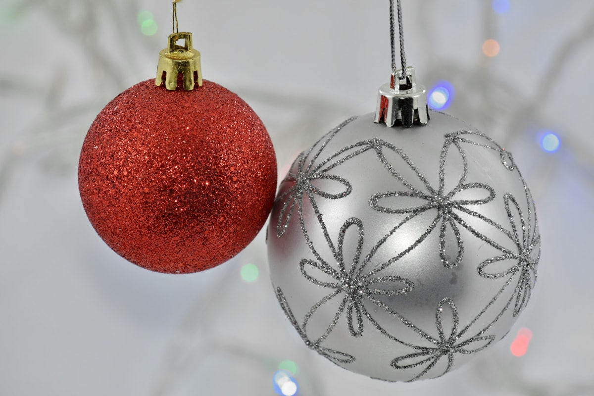 christianity, christmas, decoration, hanging, ornament, red, silver, sphere, shining, winter