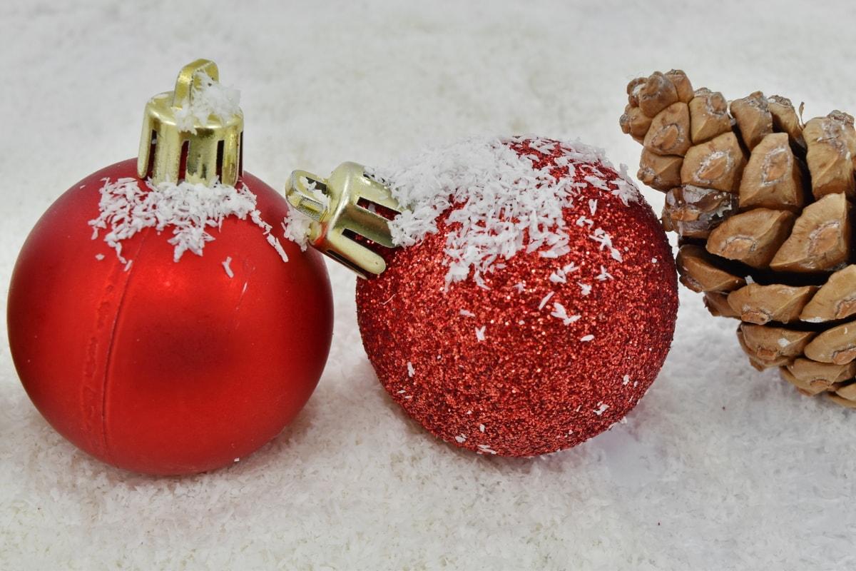 fermer, mise au point, ornement, rouge, flocons de neige, étincelle, sphère, Noël, Ball, Hiver
