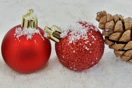 close, focus, ornament, red, snowflakes, spark, sphere, christmas, ball, winter