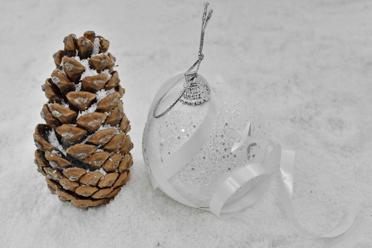 sisustus, Ornamentti, lumihiutaleet, pallo, valkoinen, talvi, joulu, lumi, asetelma, perinteinen