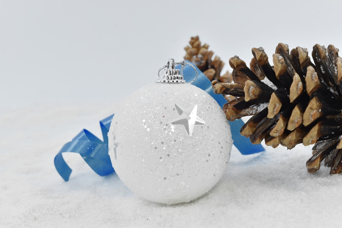 blue, christmas, ornament, ribbon, shining, white, snow, winter, celebration, frost