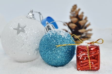 decoration, gift, ornament, package, snow, winter, holiday, shining, ball, season