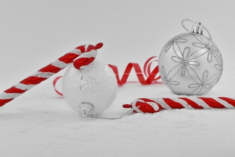 christmas, decoration, elegant, ornament, red, ribbon, snowflakes, white, holiday, snow