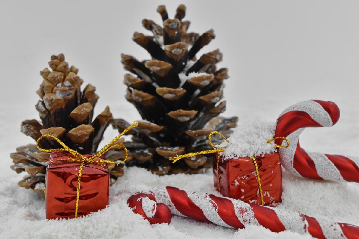 fermer, décoration, cadeaux, flocons de neige, Noël, cône, arbre, Hiver, neige, célébration