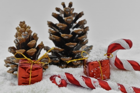 close-up, decoration, gifts, snowflakes, christmas, cone, tree, winter, snow, celebration