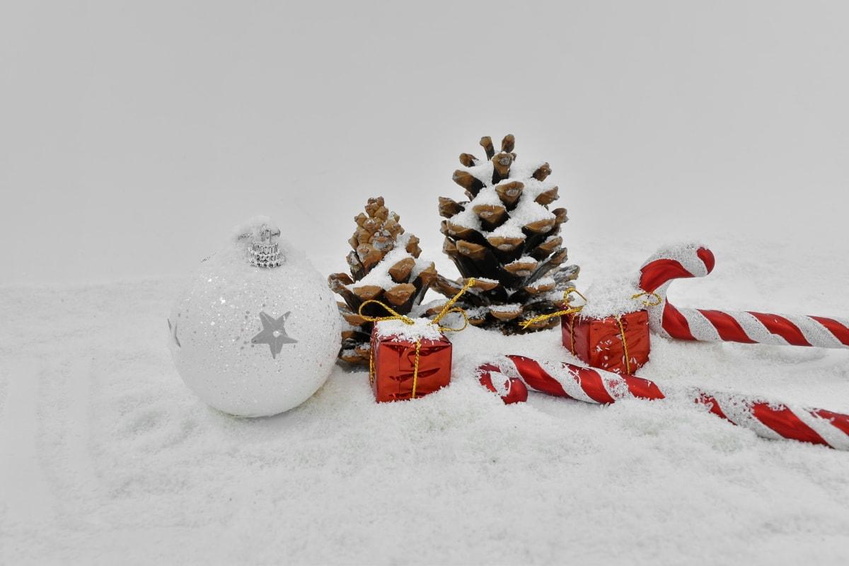 Božić, dekoracija, elegantan, pokloni, mini, minimalizam, sfera, bijeli, snijeg, pahuljica