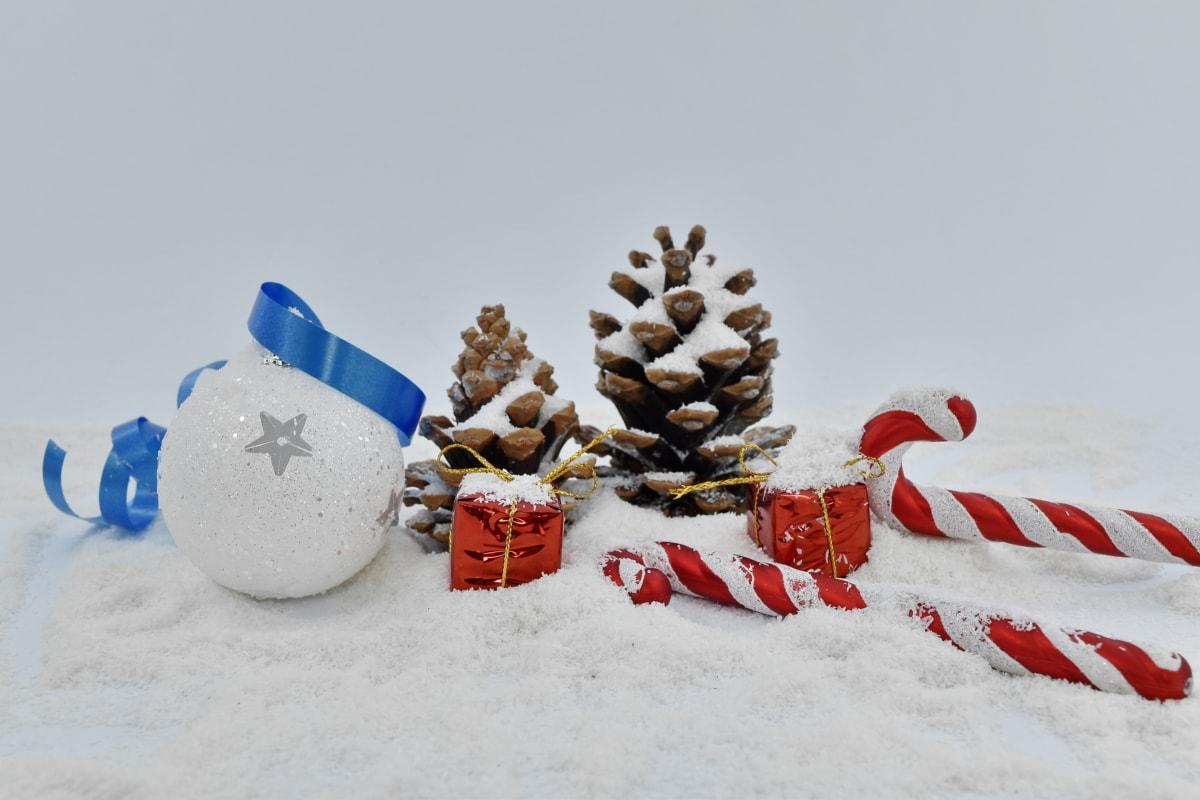 gaver, ornament, Vinter, Christmas, snø, fortsatt liv, frost, feiring, tre, snøfnugg