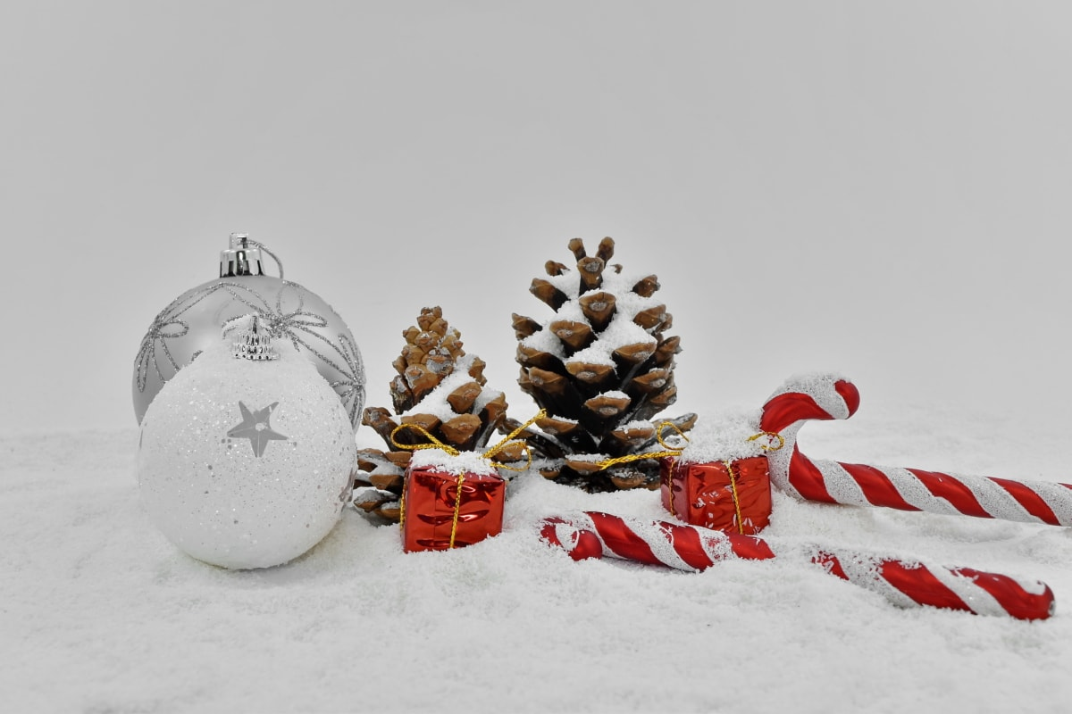 christmas, decorative, gifts, grey, ornament, snowflakes, sphere, snow, celebration, holiday