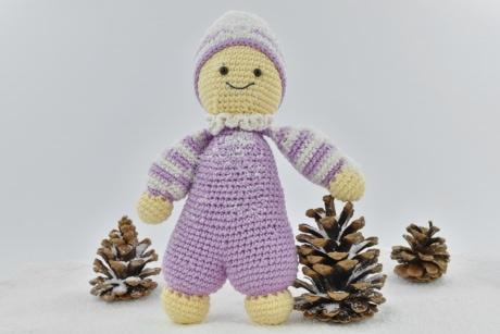 cold, conifers, doll, figurine, handmade, knitwear, pink, snowflakes, soft, winter