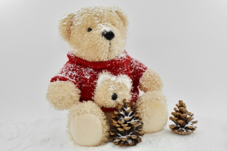 conifers, decoration, snow, snowflakes, teddy bear toy, toy, soft, cute, gift, winter