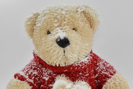 snow, snowflakes, sweater, teddy bear toy, winter, soft, bear, toy, cute, christmas