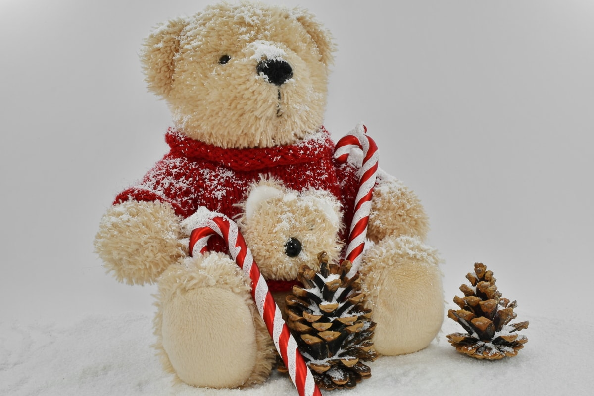 christmas, decoration, holiday, plush, snow, snowflakes, teddy bear toy, toy, winter, cute