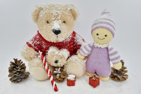 christmas, decoration, doll, gifts, handmade, teddy bear toy, toys, toy, snow, cute