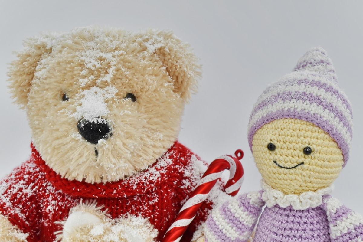 cold, doll, handmade, snowflakes, teddy bear toy, winter, toy, bear, christmas, scarf