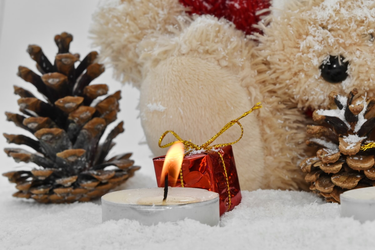 candlelight, candles, christian, christianity, christmas, decoration, religious, teddy bear toy, snow, winter