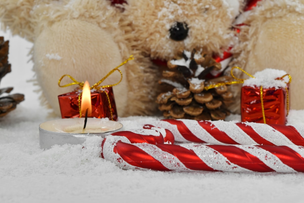 candle, candlelight, christianity, christmas, decoration, orthodox, teddy bear toy, toy, winter, snow