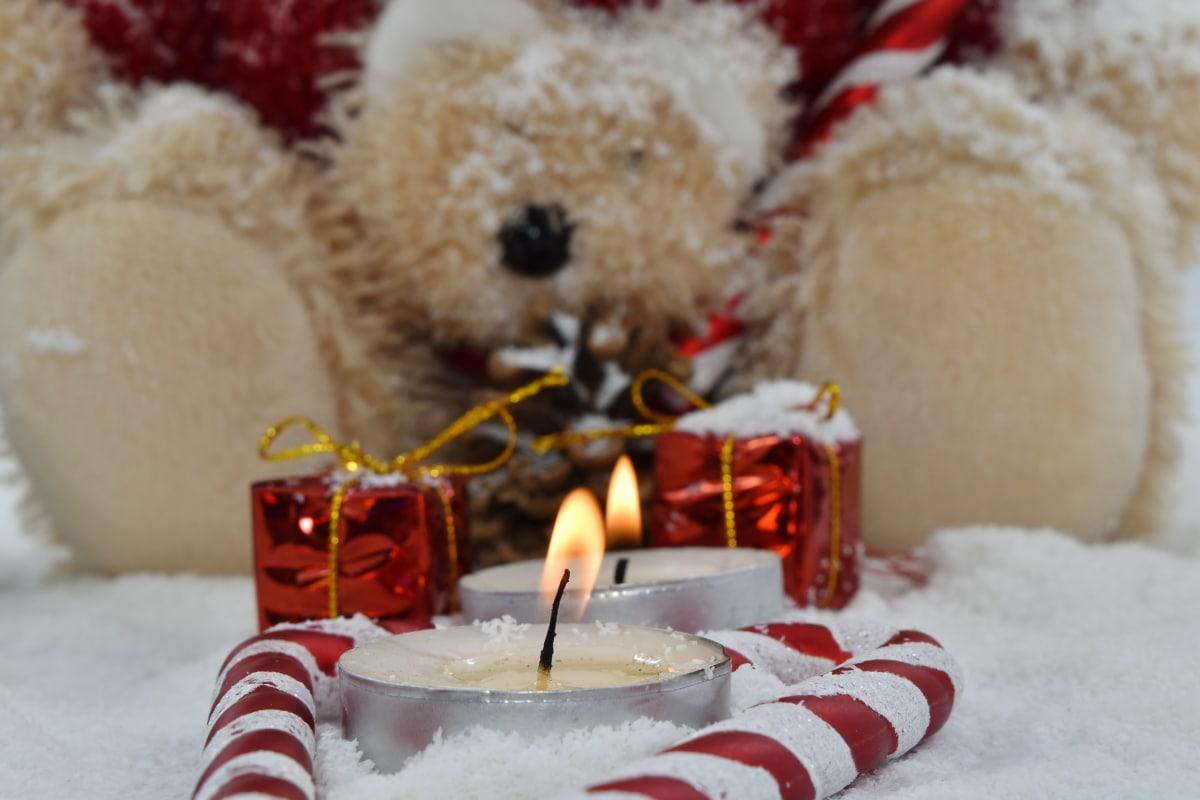velas, Navidad, regalos, ortodoxa, osito de peluche, nieve, invierno, vela, tradicional, luz de las velas