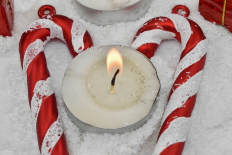 candle, decoration, heart, hearts, love, romance, snowflakes, flame, candles, christmas