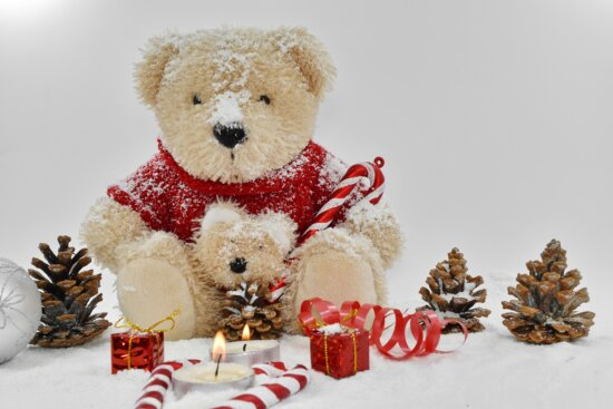 candle, decoration, elegant, gifts, toy, snow, cute, christmas, teddy bear toy, gift
