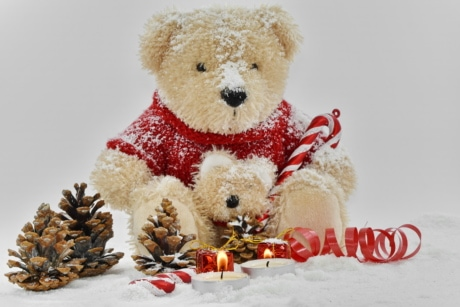 beautiful, candles, decoration, love, romantic, snow, teddy bear toy, toy, christmas, winter