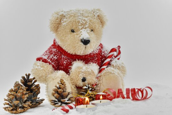 candles, christmas, conifers, decoration, frost, ribbon, romantic, snow, snowflakes, teddy bear toy