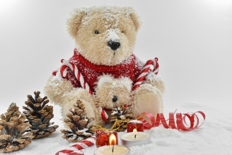 christmas, conifers, decorative, holiday, snowflakes, teddy bear toy, animal, bear, brown, celebration