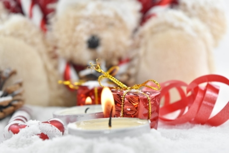 background, blurry, candlelight, candles, focus, gifts, ribbon, teddy bear toy, christmas, traditional