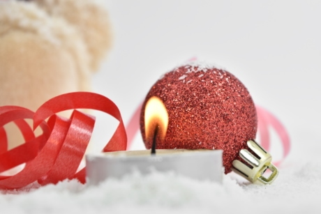 candlelight, candles, celebration, christmas, holiday, red, ribbon, snow, snowflakes, decoration