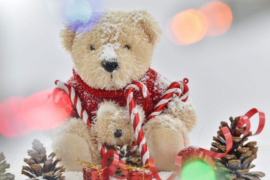 christmas, lights, teddy bear toy, gift, snow, winter, toy, bear, traditional, celebration